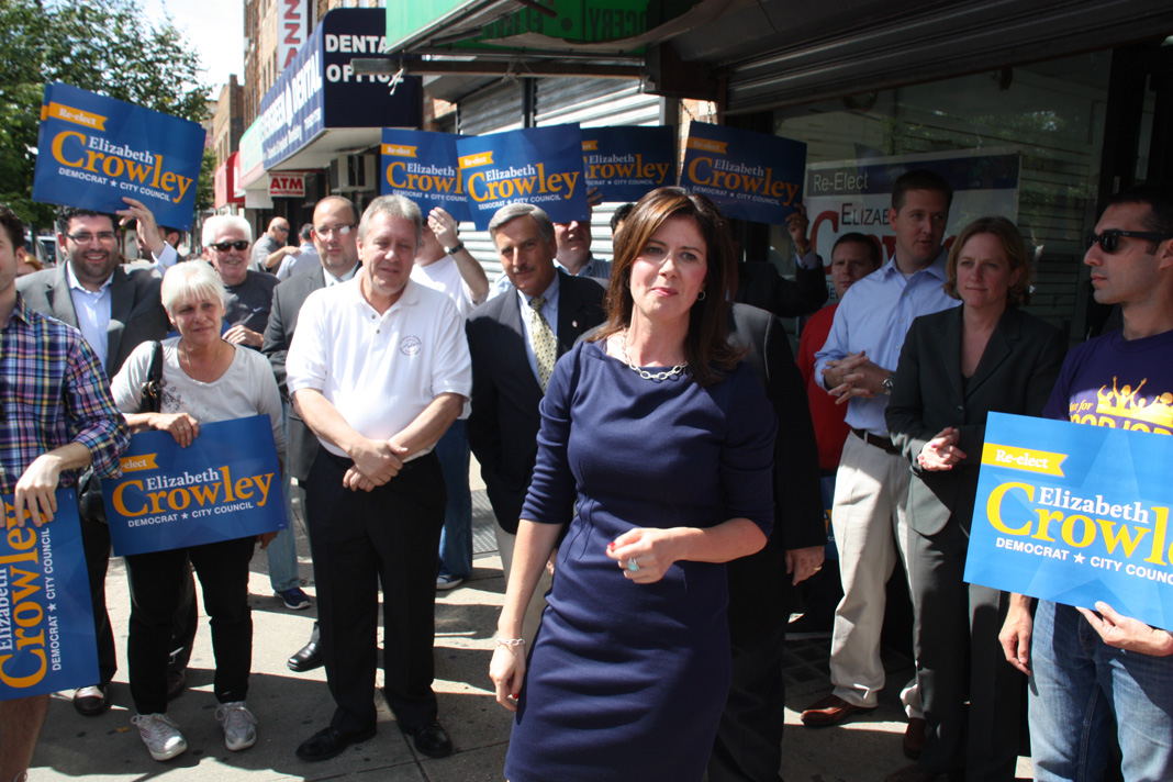 Councilwoman Crowley at her campaign office opening on Myrtle Avenue last September.