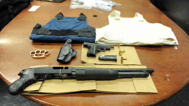 NYPD photo of the weapon and armor stash
