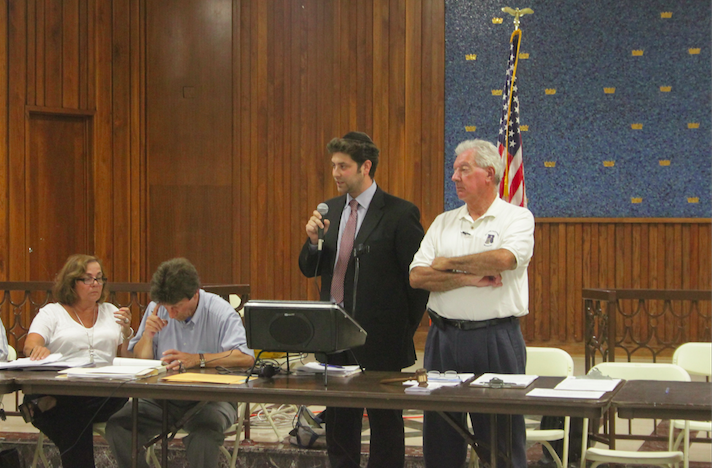 Zoning attorney Jai Goldstein took questions on the yeshiva expansion at last Wednesday's CB5 meeting.