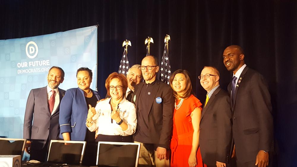 Glendale Congresswoman Grace Meng with DNC leadership.