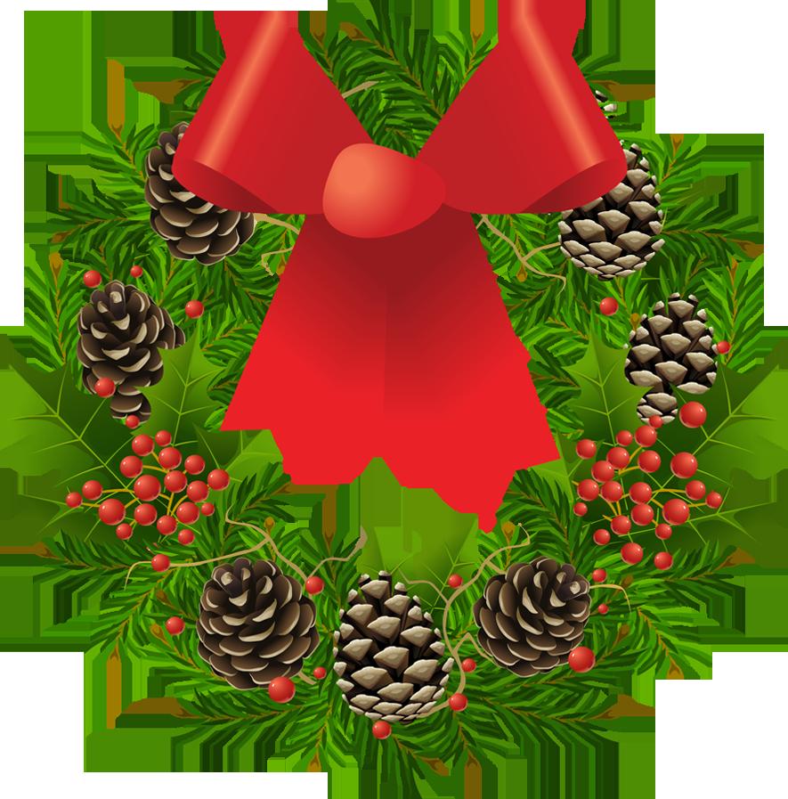 Transparent_Christmas_Wreath_Clipart_Picture